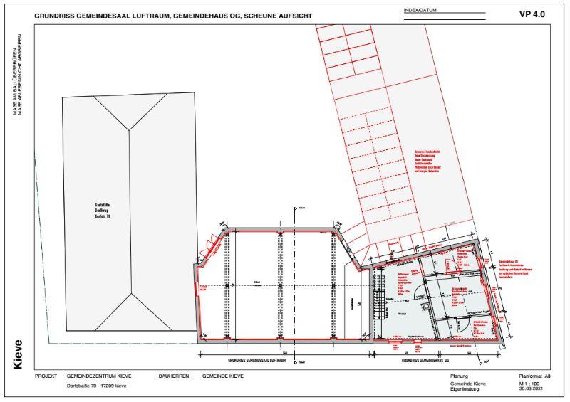 Grundriss OG - Saal und Gemeindehaus